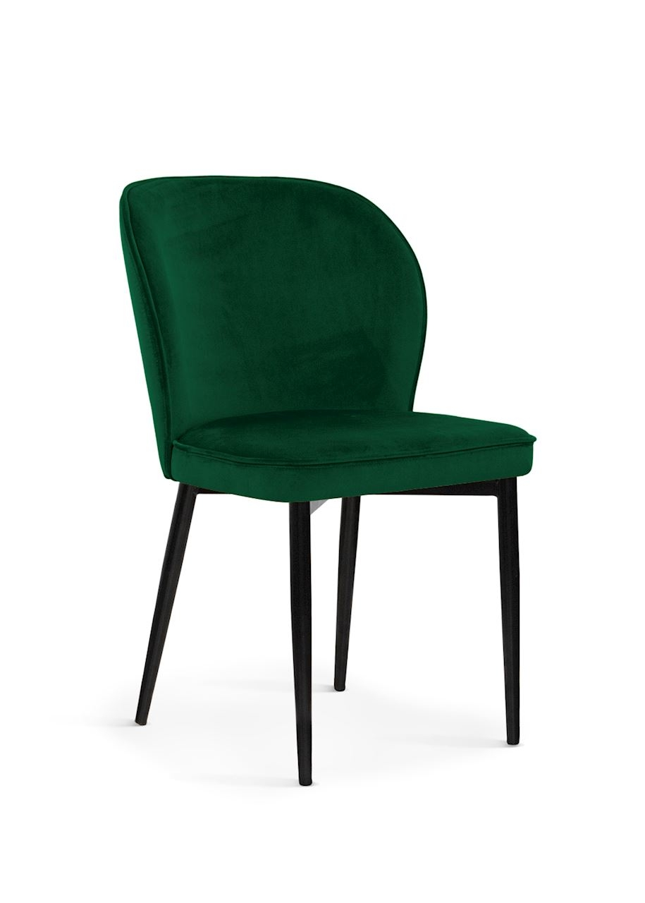 Scaun tapitat cu stofa, cu picioare metalice Aine Green / Black, l54xA61xH87 cm