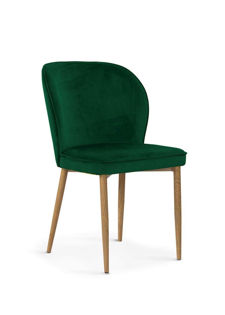 Scaun tapitat cu stofa, cu picioare metalice Aine Green / Oak, l54xA61xH87 cm