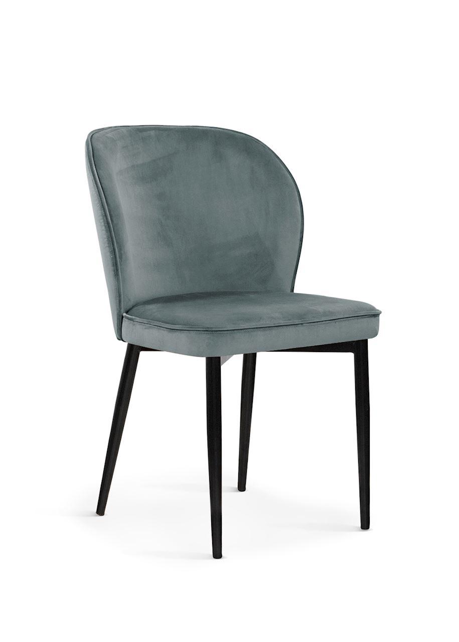 Scaun tapitat cu stofa, cu picioare metalice Aine Grey / Black, l54xA61xH87 cm