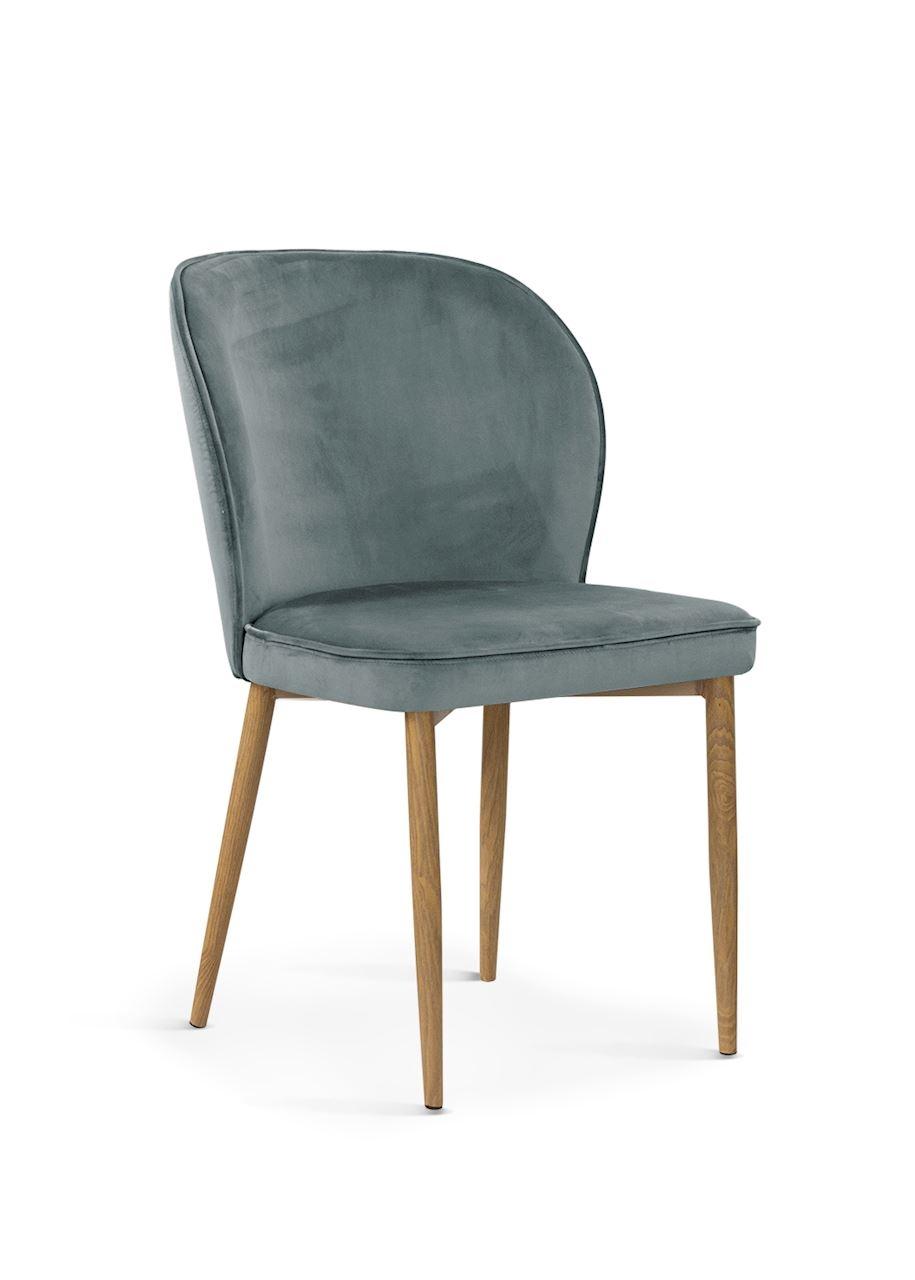 Scaun tapitat cu stofa, cu picioare metalice Aine Grey / Oak, l54xA61xH87 cm