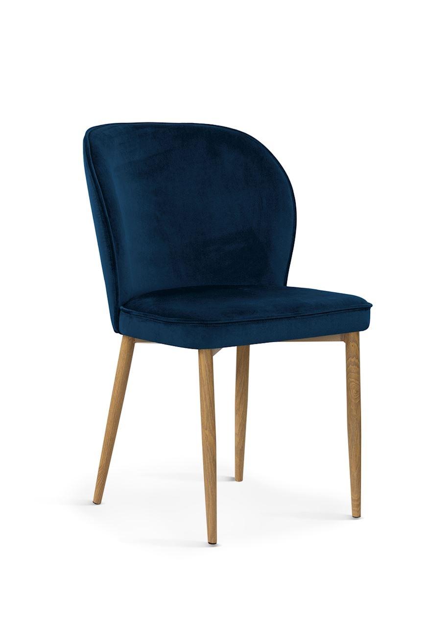 Scaun tapitat cu stofa, cu picioare metalice Aine Navy Blue / Oak, l54xA61xH87 cm