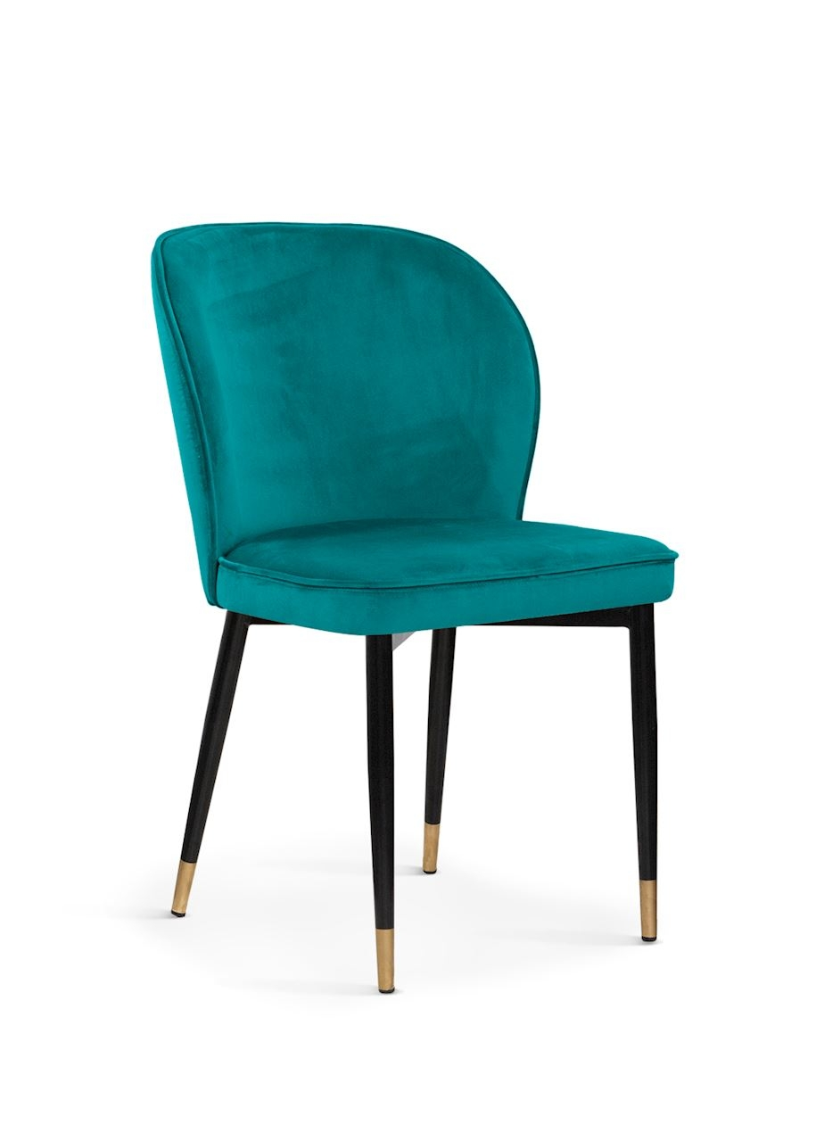 Scaun tapitat cu stofa, cu picioare metalice Aine Turquoise / Black / Gold, l54xA61xH87 cm