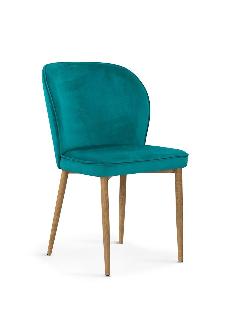 Scaun tapitat cu stofa, cu picioare metalice Aine Turquoise / Oak, l54xA61xH87 cm