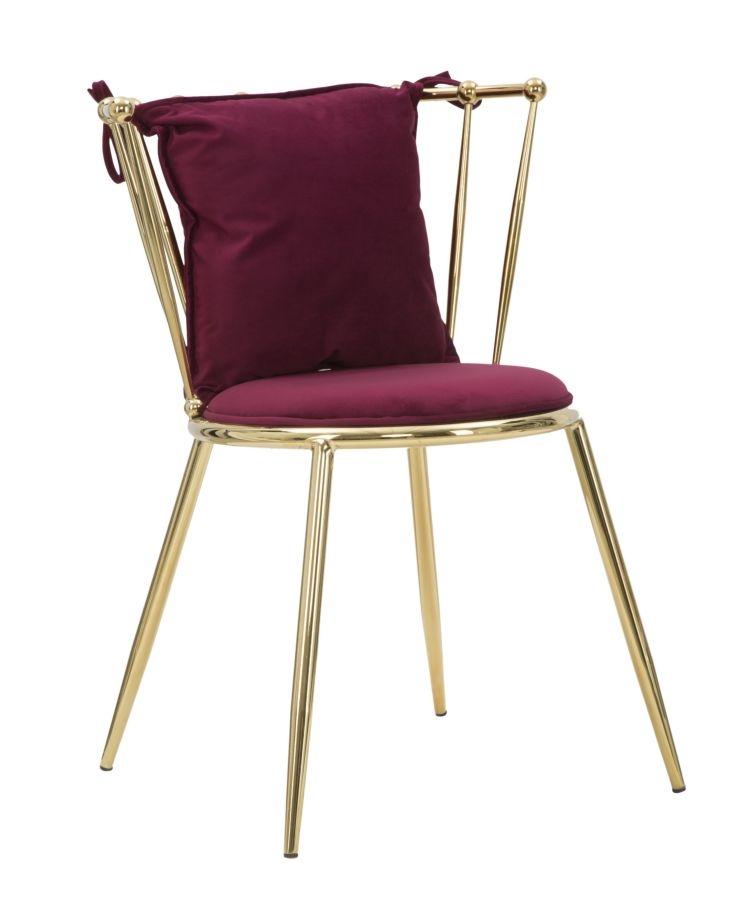 Scaun tapitat cu stofa, cu picioare metalice Backy Bordeaux / Auriu, l57xA59xH79 cm