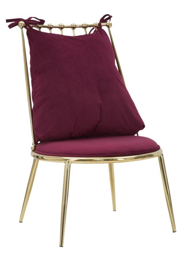 Scaun tapitat cu stofa, cu picioare metalice Backy Low Bordeaux / Auriu, l55xA60xH83 cm