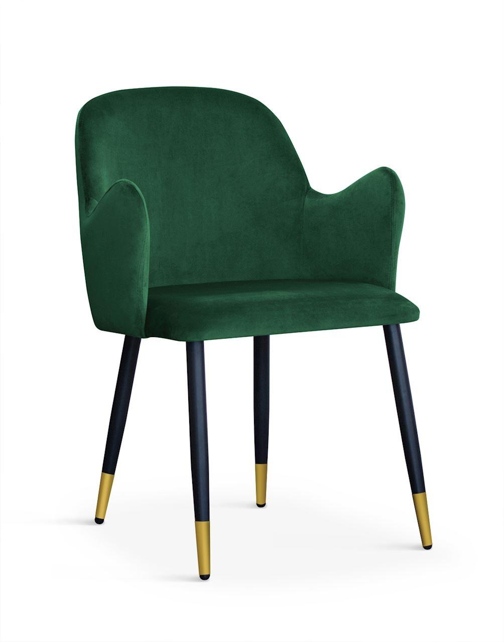 Scaun tapitat cu stofa si picioare metalice Camel Velvet Verde / Negru / Auriu, l58xA63xH84 cm imagine