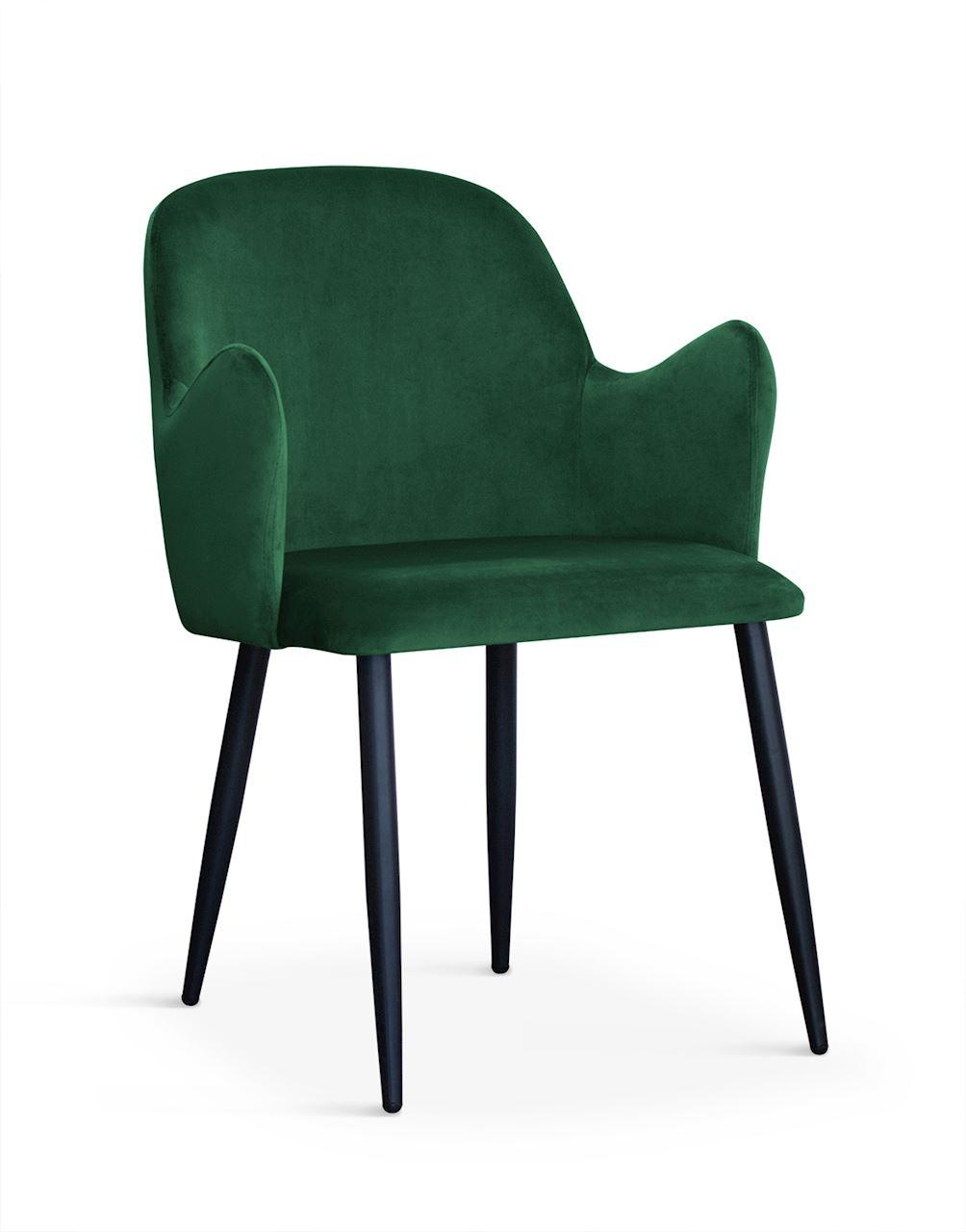 Scaun tapitat cu stofa, cu picioare metalice Camel Green / Black, l58xA63xH84 cm