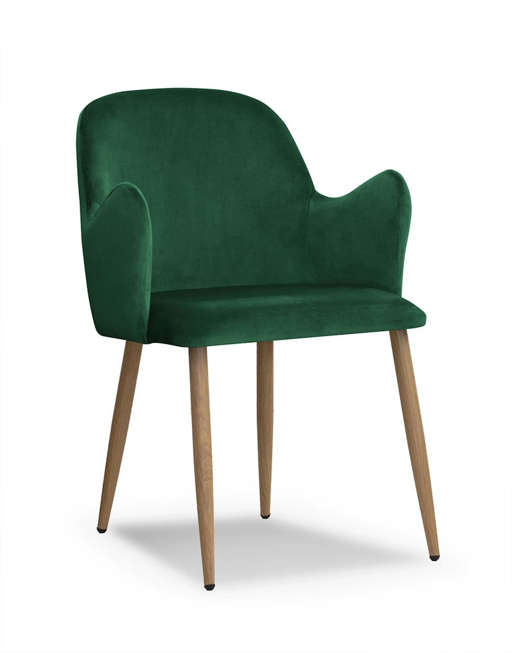 Scaun tapitat cu stofa, cu picioare metalice Camel Green / Oak, l58xA63xH84 cm