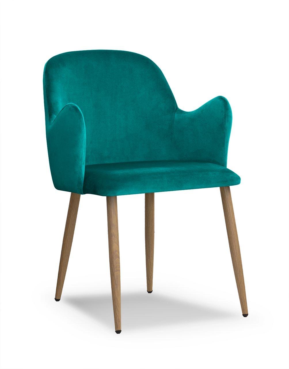 Scaun tapitat cu stofa, cu picioare metalice Camel Turquoise / Oak, l58xA63xH84 cm