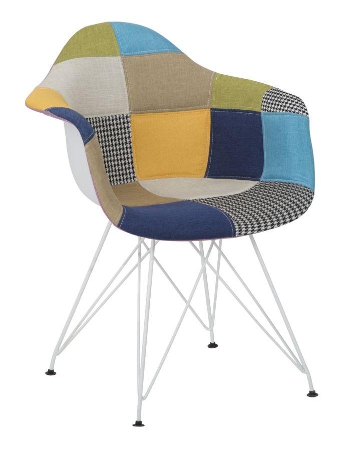 Scaun tapitat cu stofa, cu picioare metalice Camerun Patchwork Multicolor, l63xA59,5xH82 cm