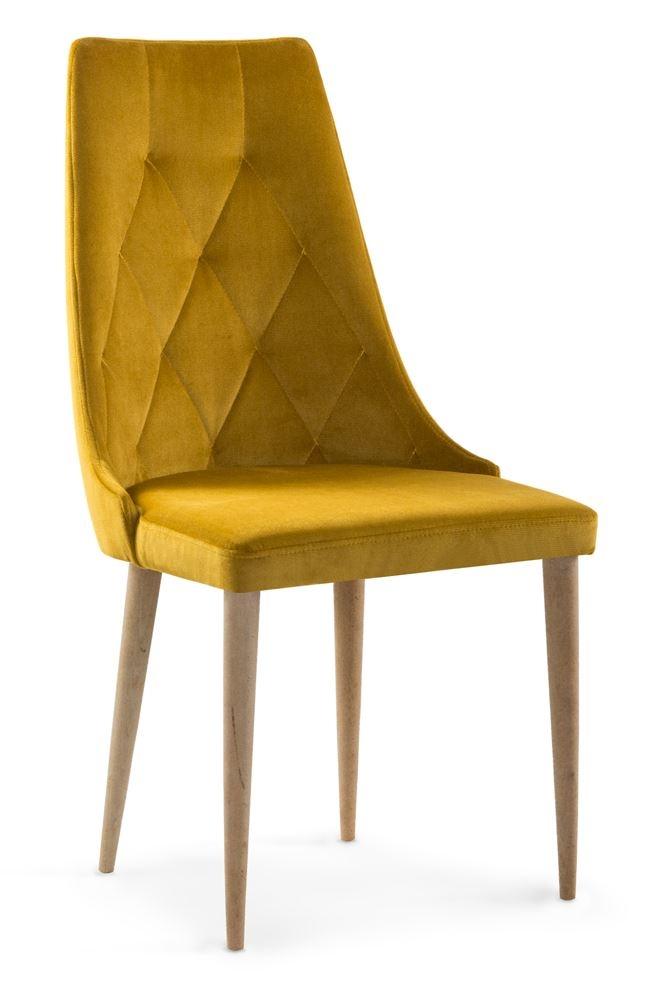 Scaun tapitat cu stofa cu picioare metalice Caren II Honey / Oak l52xA55xH99 cm