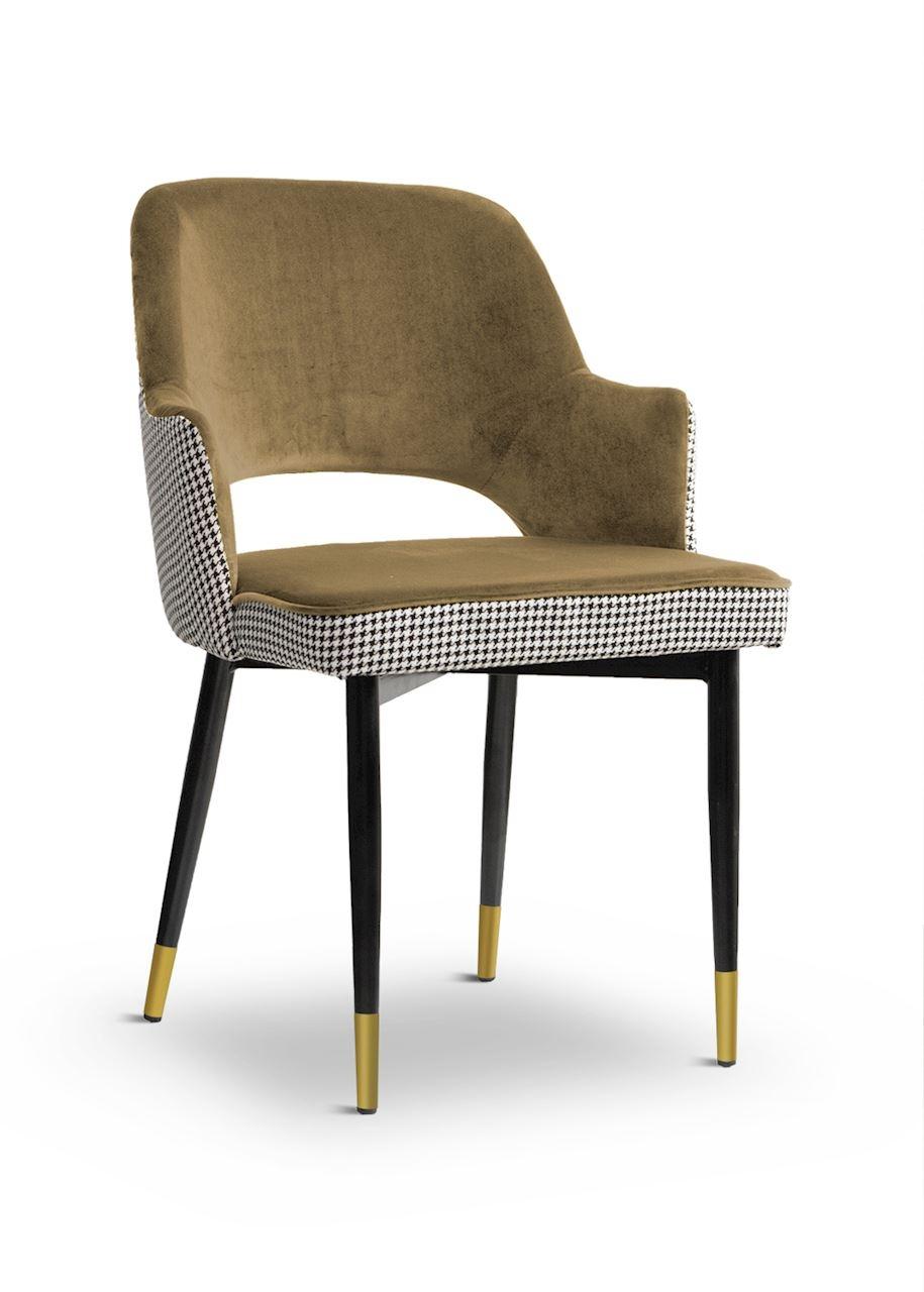 Scaun tapitat cu stofa, cu picioare metalice Cesar Pepitka Beige / Black / Gold, l55xA64xH85 cm