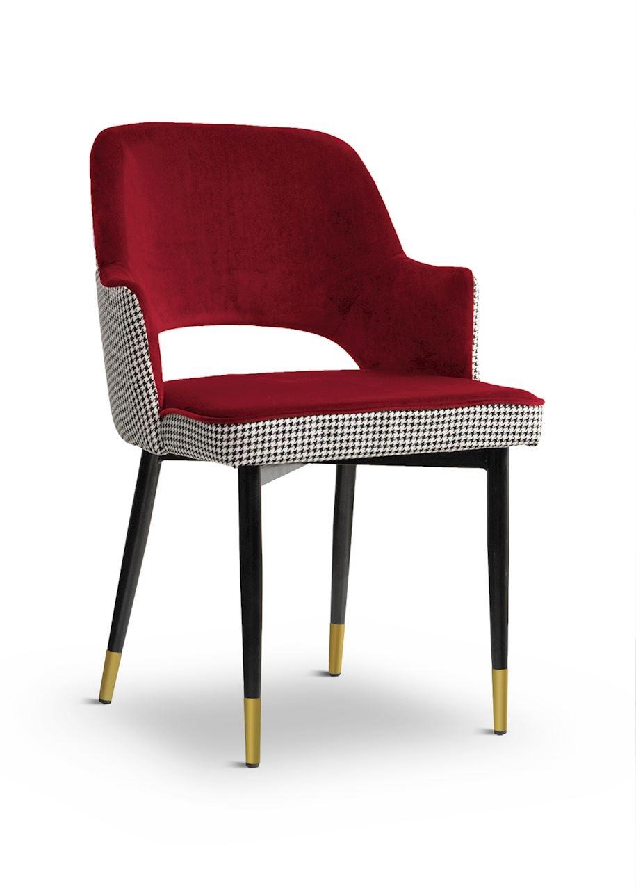 Scaun tapitat cu stofa, cu picioare metalice Cesar Pepitka Red / Black / Gold, l55xA64xH85 cm