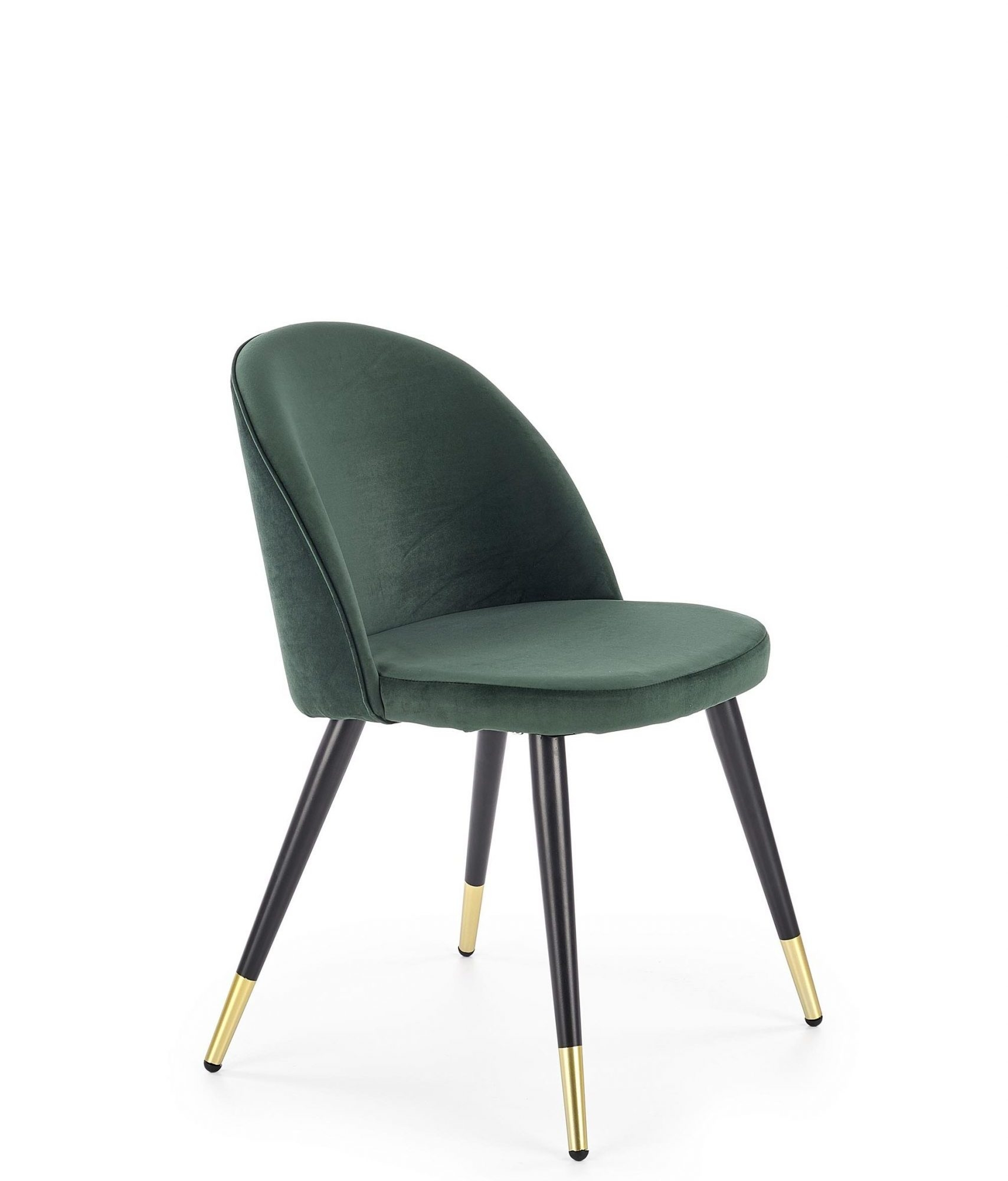 Scaun tapitat cu stofa, cu picioare metalice Claire Velvet Verde / Negru, l50xA55xH76 cm imagine