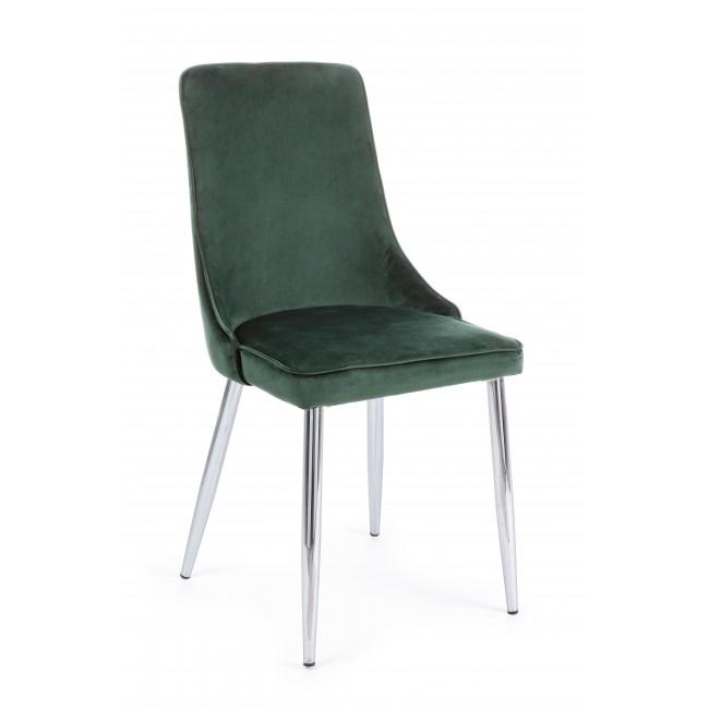 Scaun tapitat cu stofa, cu picioare metalice Corinna Verde inchis, l44xA55xH86 cm