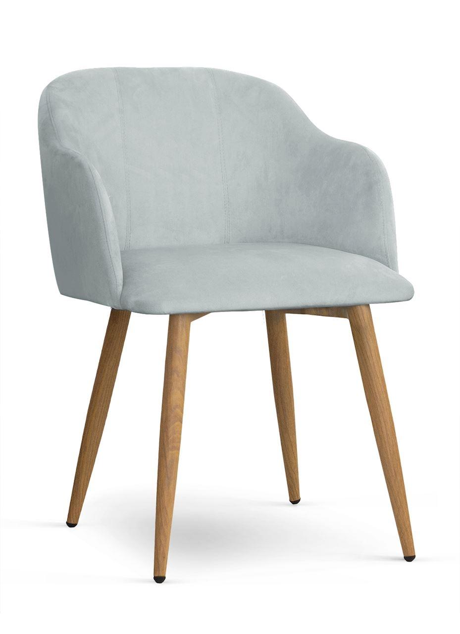 Scaun tapitat cu stofa, cu picioare metalice Danez Argintiu / Stejar, l56xA60xH80 cm