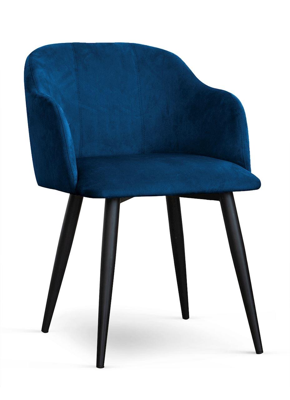 Scaun tapitat cu stofa, cu picioare metalice Danez Bleumarin / Negru, l56xA60xH80 cm