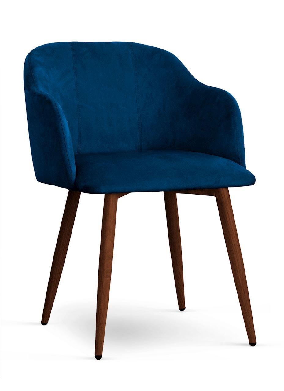 Scaun tapitat cu stofa, cu picioare metalice Danez Bleumarin / Nuc, l56xA60xH80 cm