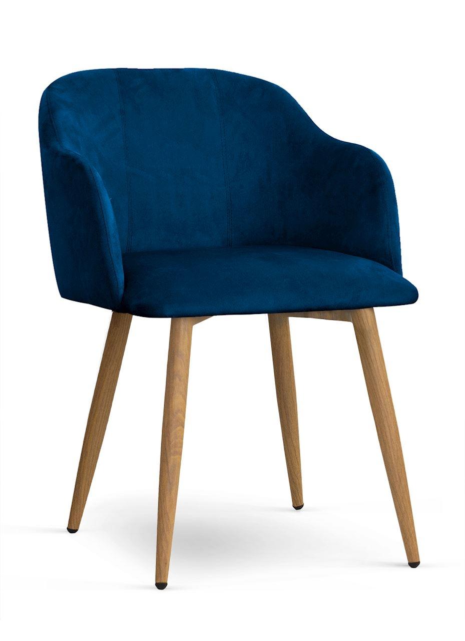 Scaun tapitat cu stofa, cu picioare metalice Danez Bleumarin / Stejar, l56xA60xH80 cm