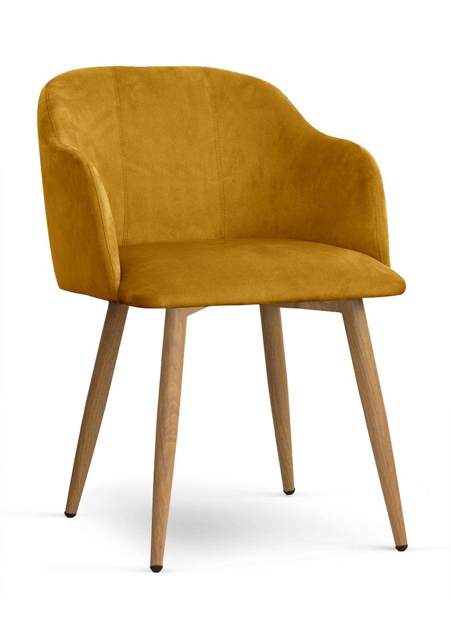 Scaun tapitat cu stofa, cu picioare metalice Danez Galben / Stejar, l56xA60xH80 cm