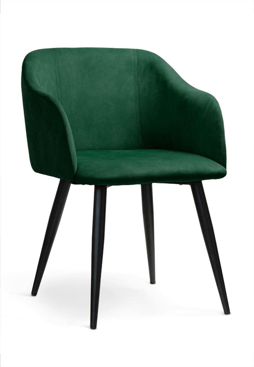 Scaun tapitat cu stofa, cu picioare metalice Danez Green / Black, l56xA60xH80 cm