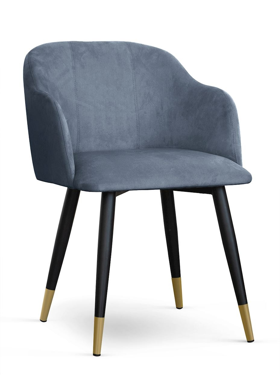 Scaun tapitat cu stofa, cu picioare metalice Danez Gri / Negru / Auriu, l56xA60xH80 cm