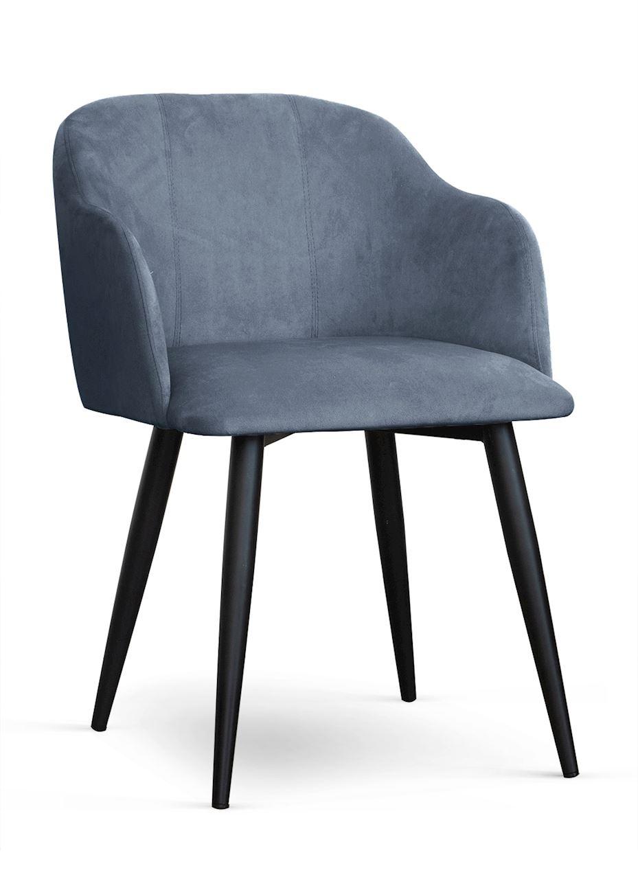 Scaun tapitat cu stofa, cu picioare metalice Danez Gri / Negru, l56xA60xH80 cm