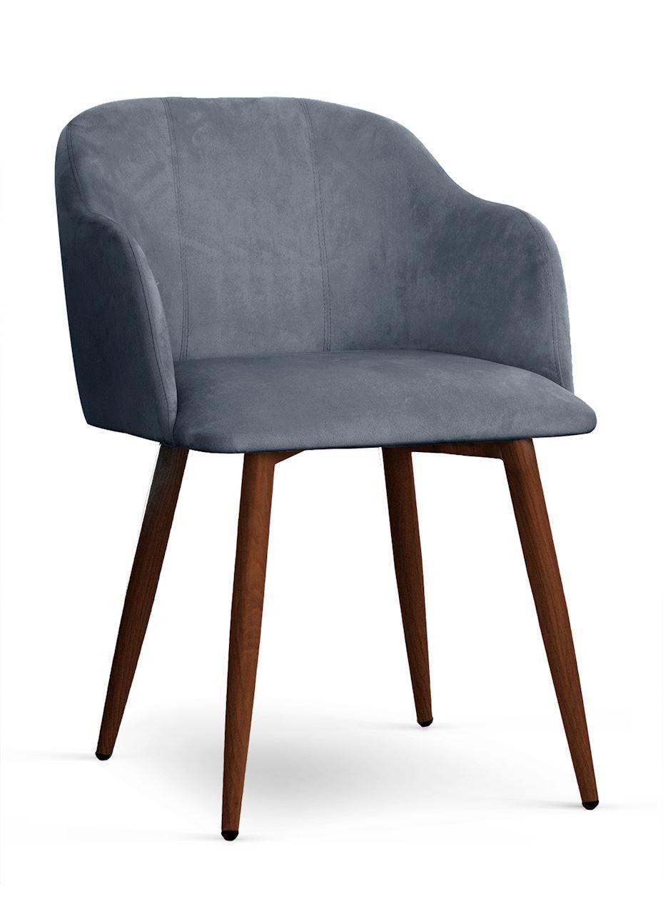 Scaun tapitat cu stofa, cu picioare metalice Danez Gri / Nuc, l56xA60xH80 cm