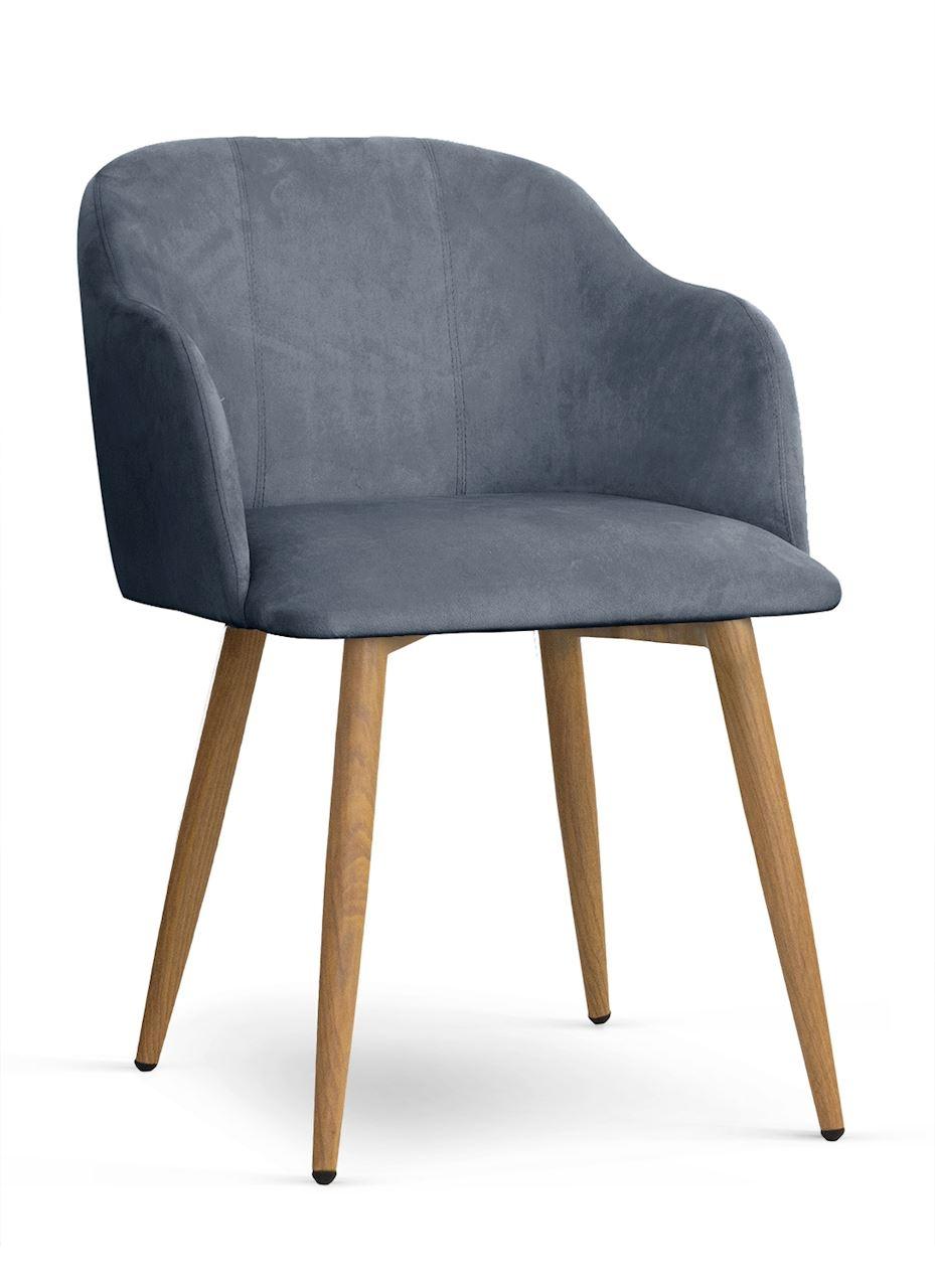 Scaun tapitat cu stofa, cu picioare metalice Danez Gri / Stejar, l56xA60xH80 cm