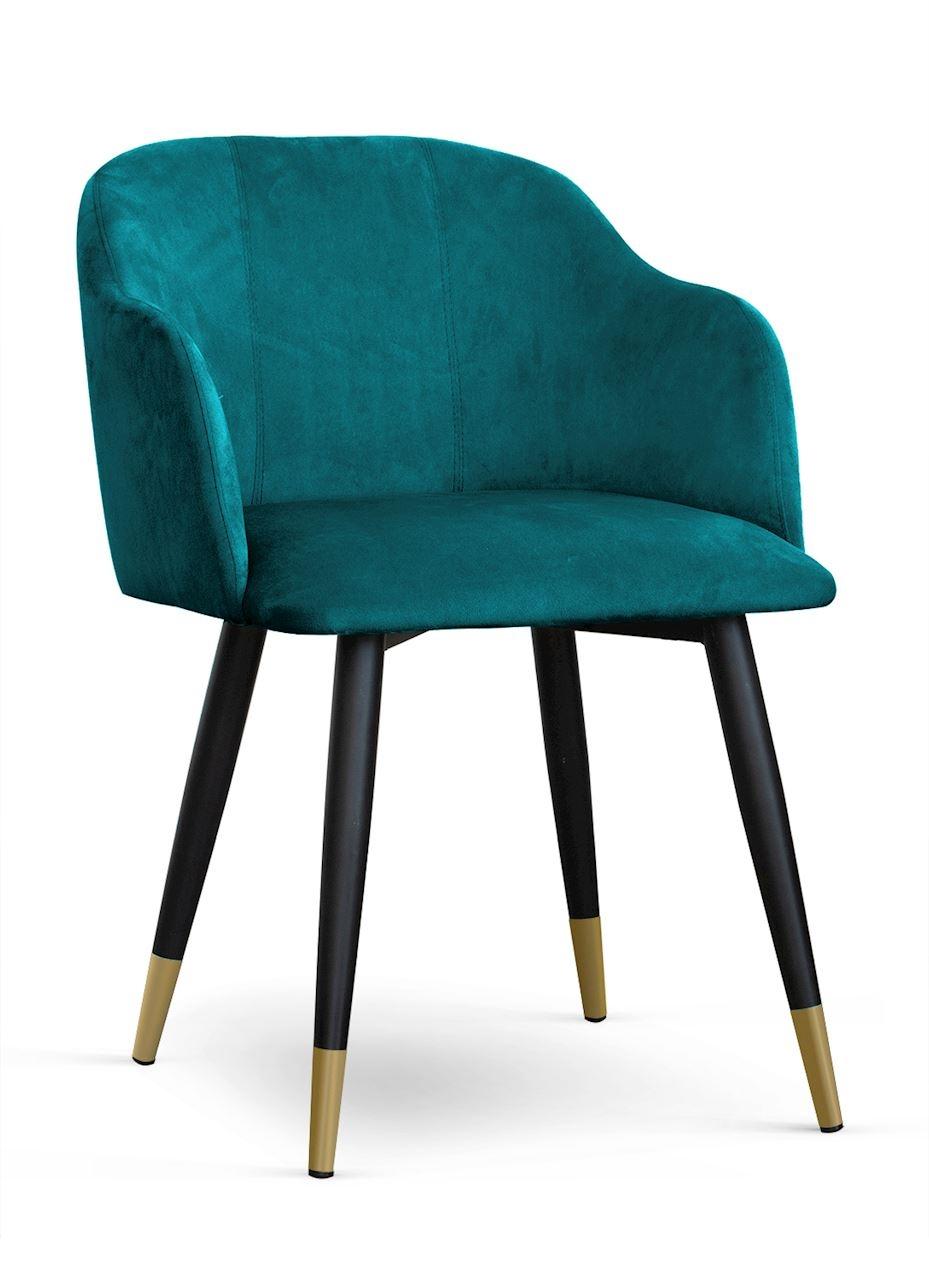 Scaun tapitat cu stofa, cu picioare metalice Danez Turcoaz / Negru / Auriu, l56xA60xH80 cm