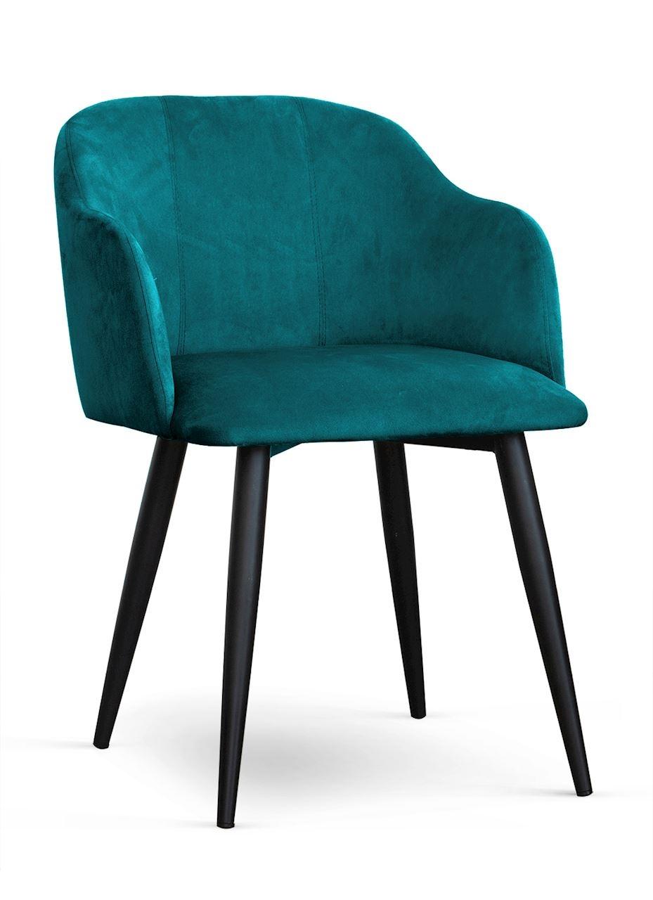 Scaun tapitat cu stofa, cu picioare metalice Danez Turcoaz / Negru, l56xA60xH80 cm