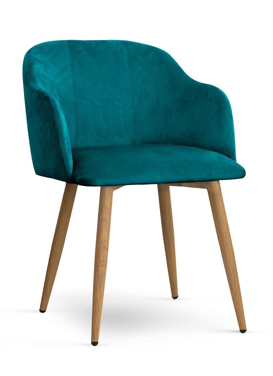 Scaun tapitat cu stofa, cu picioare metalice Danez Turcoaz / Stejar, l56xA60xH80 cm