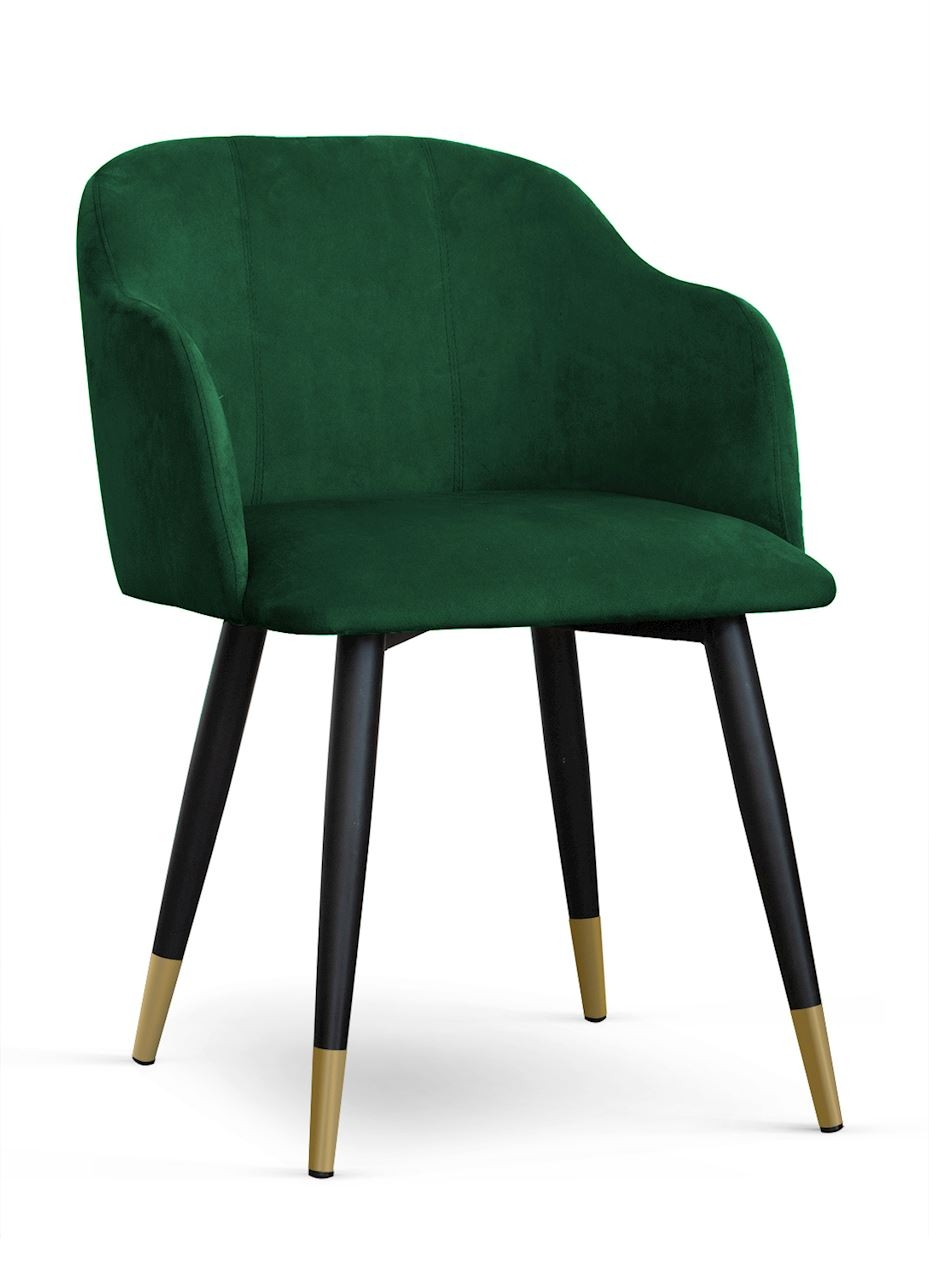 Scaun tapitat cu stofa, cu picioare metalice Danez Verde / Negru / Auriu, l56xA60xH80 cm