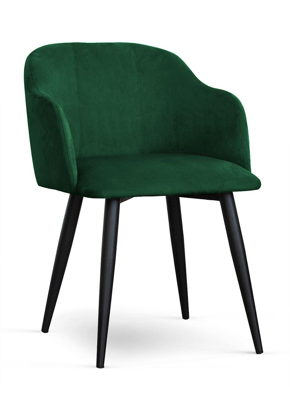 Scaun tapitat cu stofa, cu picioare metalice Danez Verde / Negru, l56xA60xH80 cm