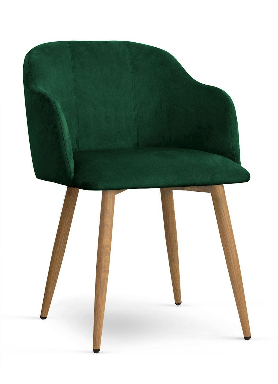 Scaun tapitat cu stofa, cu picioare metalice Danez Verde / Stejar, l56xA60xH80 cm