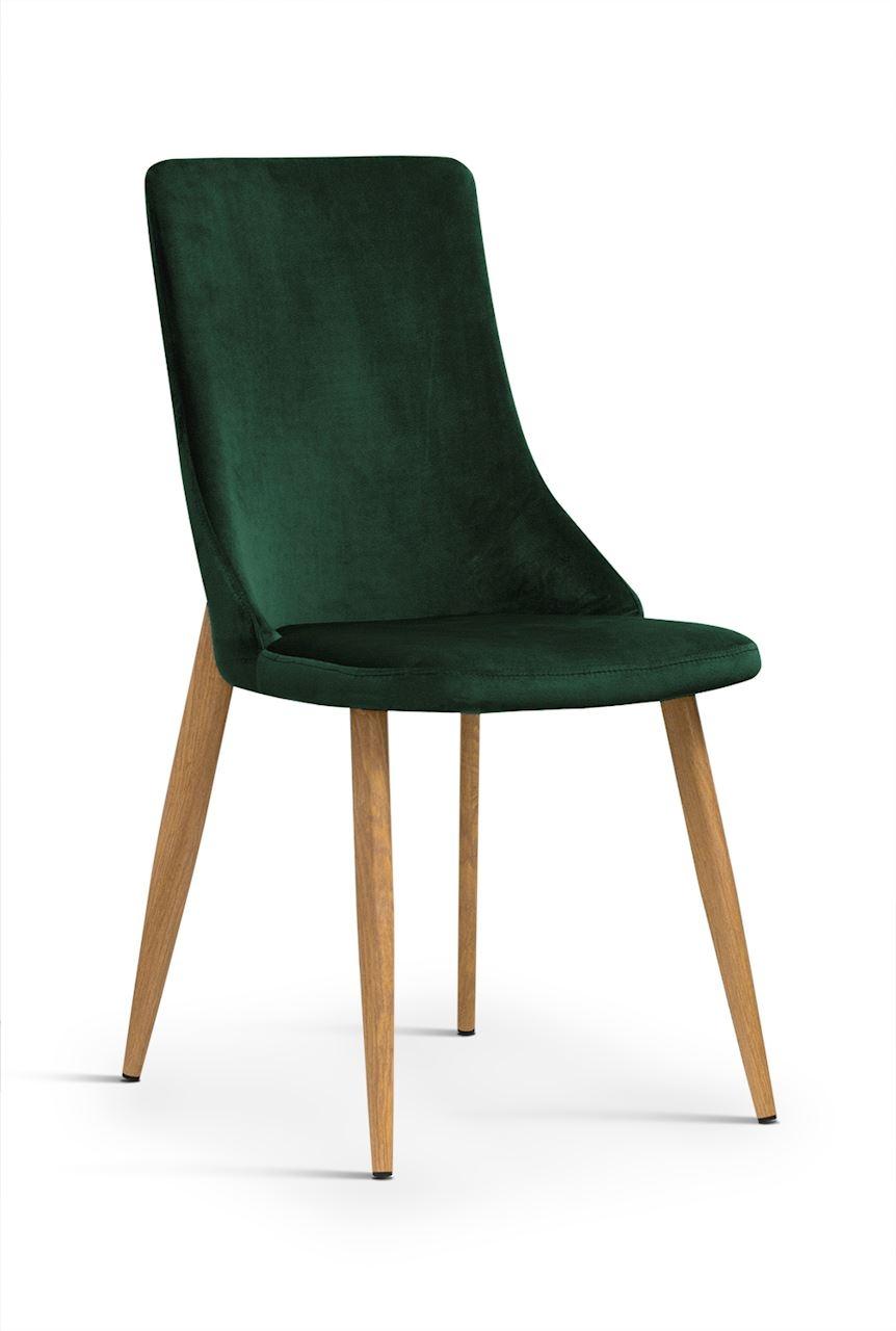 Scaun tapitat cu stofa, cu picioare metalice Eliza Velvet Green / Oak, l45xA60xH91 cm