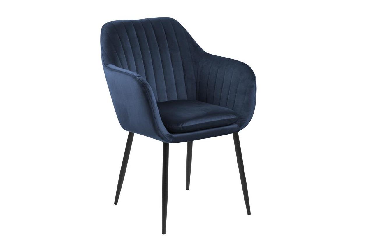 Scaun tapitat cu stofa si picioare metalice Emilia Velvet Bleumarin / Negru, l57xA61xH83 cm imagine