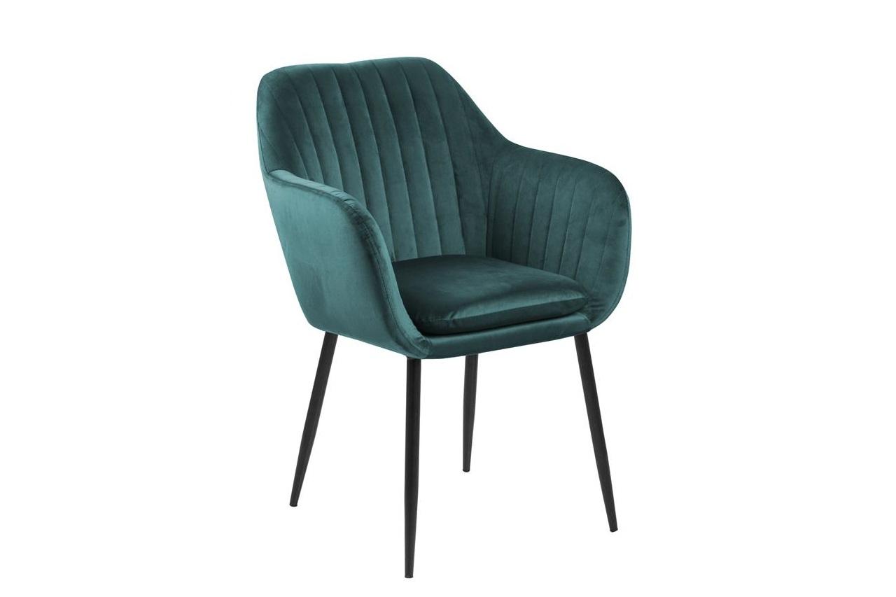 Scaun tapitat cu stofa si picioare metalice Emilia Velvet Verde/ Negru, l57xA61xH83 cm poza