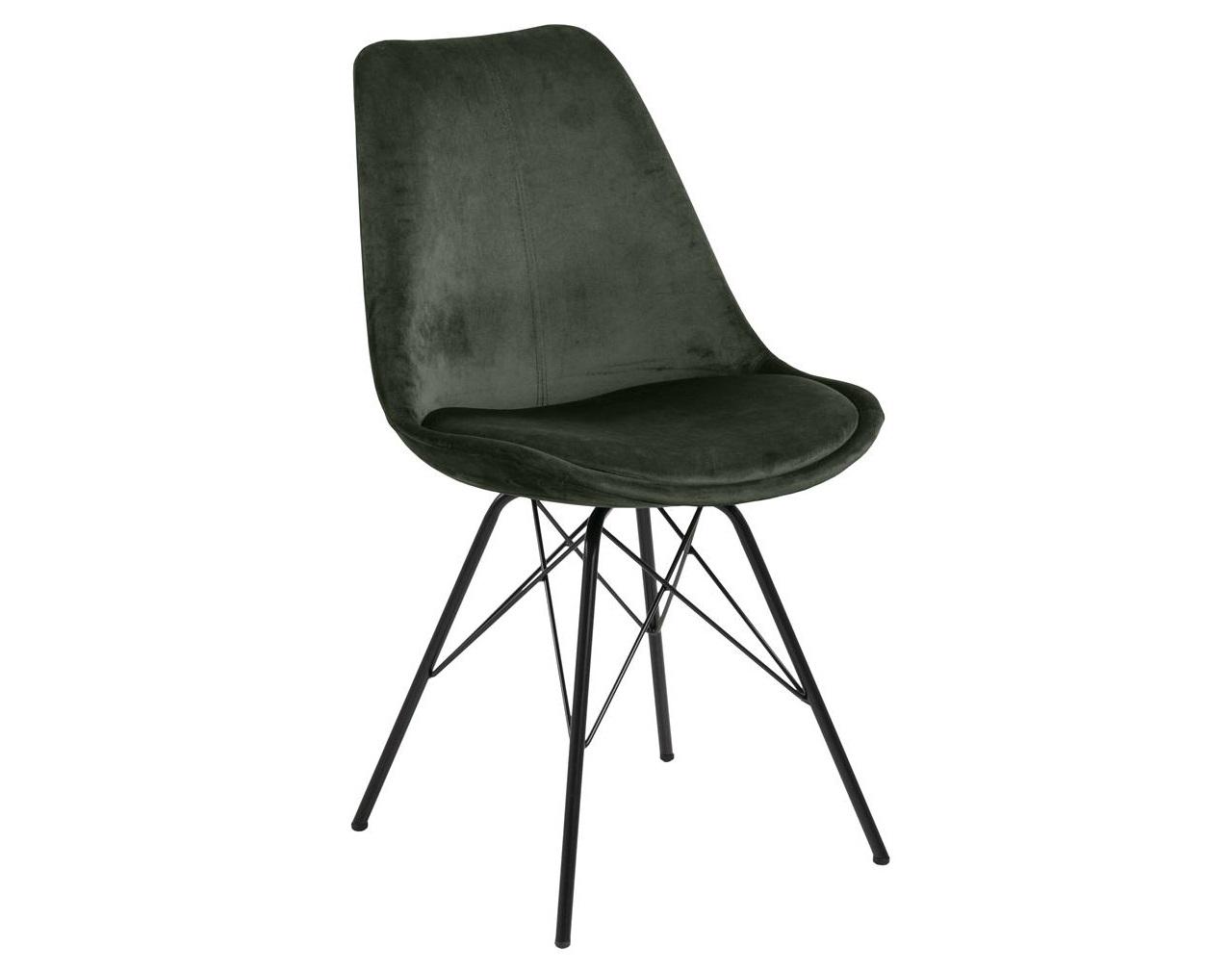 Scaun tapitat cu stofa si picioare metalice Eris Velvet Verde Inchis / Negru, l48,5xA54xH85,5 cm imagine