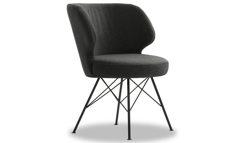 Set 2 scaune tapitate cu stofa cu picioare metalice Erwan Charcoal l62xA65xH85 cm