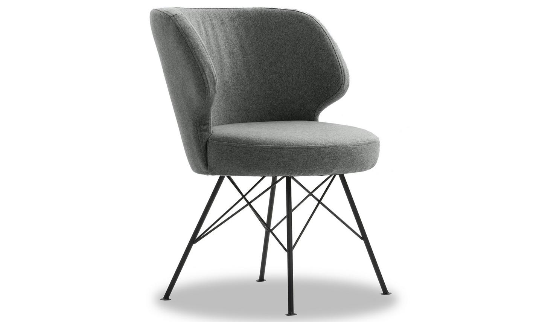 Set 2 scaune tapitate cu stofa cu picioare metalice Erwan Light Grey l62xA65xH85 cm