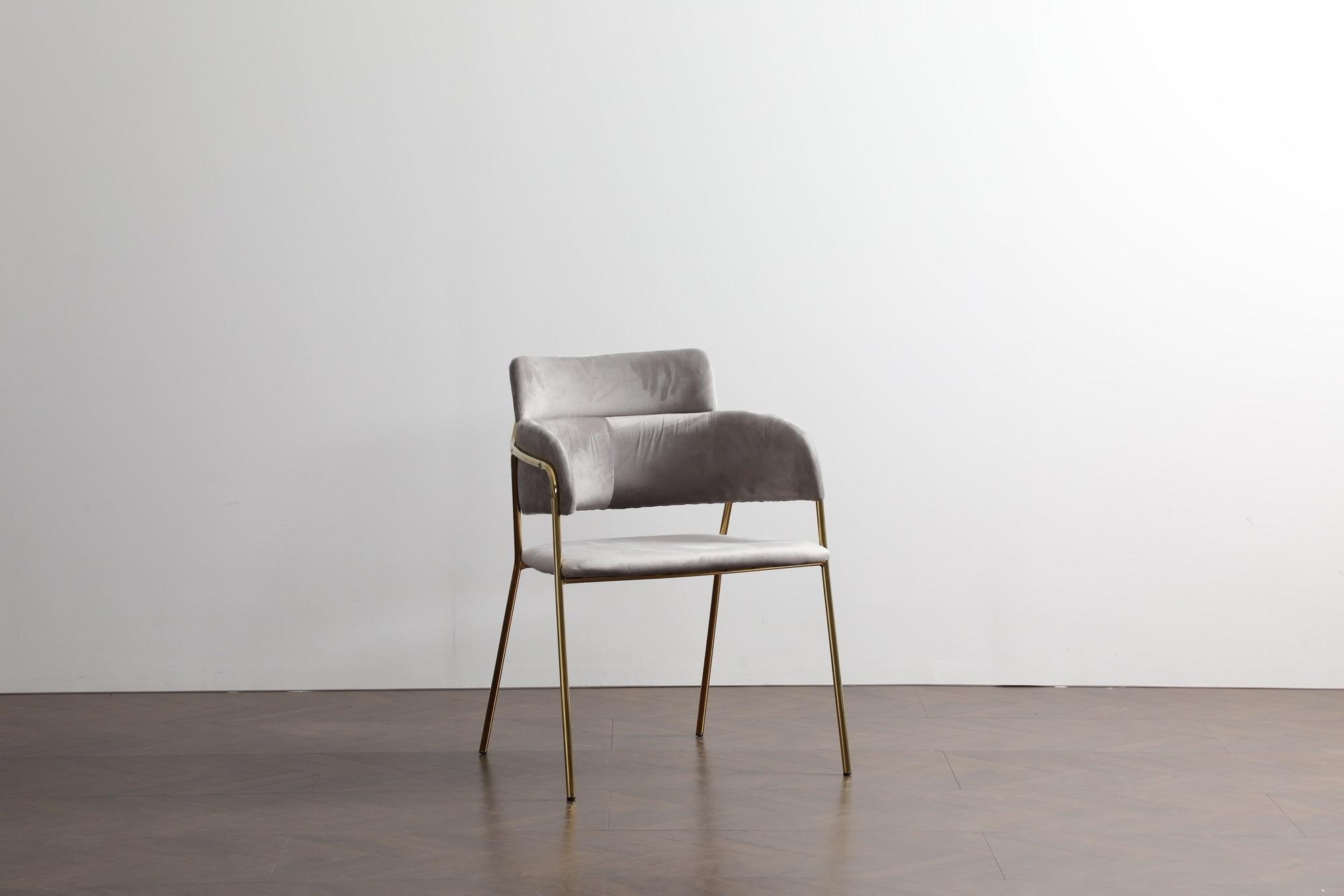 Scaun tapitat cu stofa, cu picioare metalice Eveline Velvet Grey, l48xA43xH84 cm