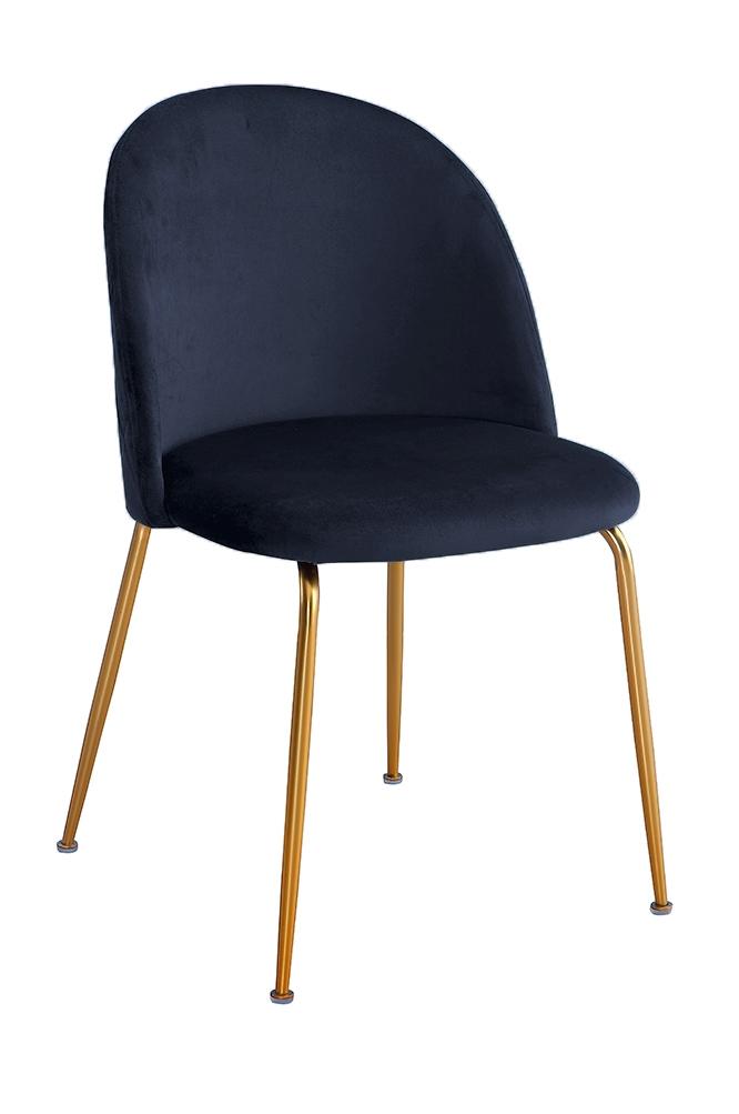 Scaun tapitat cu stofa, cu picioare metalice Forli Navy Blue / Gold, l50xA52xH78 cm