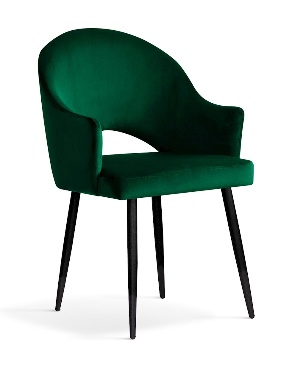Scaun tapitat cu stofa, cu picioare metalice Goda Green / Black, l54xA58xH87 cm