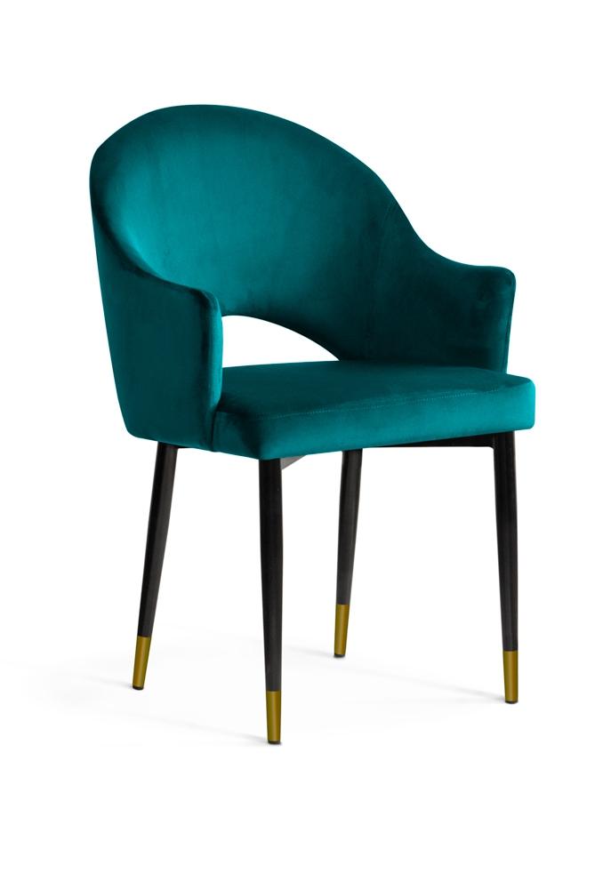 Scaun tapitat cu stofa, cu picioare metalice Goda Turquoise / Black / Gold, l54xA58xH87 cm
