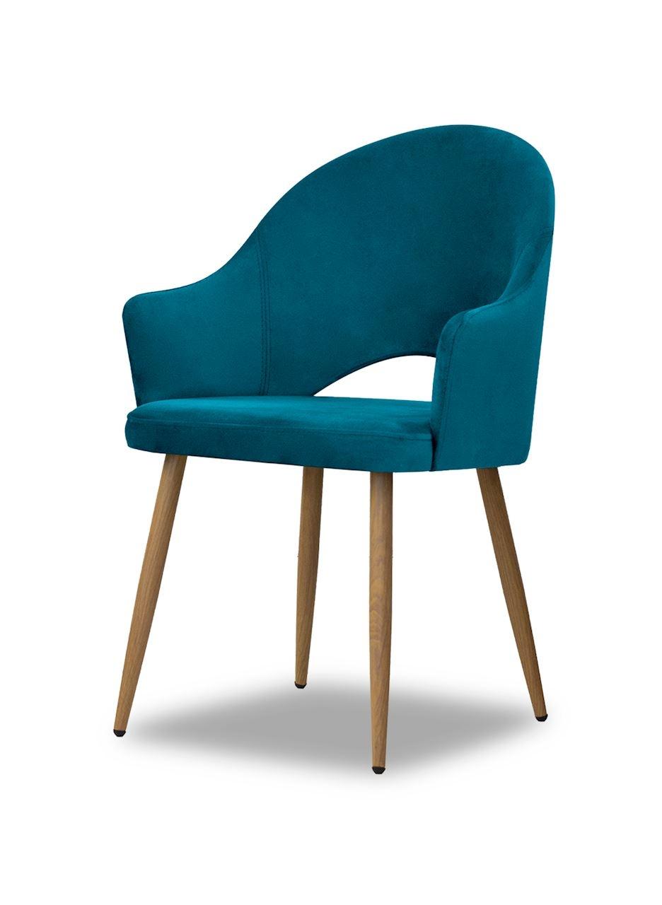 Scaun tapitat cu stofa, cu picioare metalice Goda Turquoise / Oak, l54xA58xH87 cm