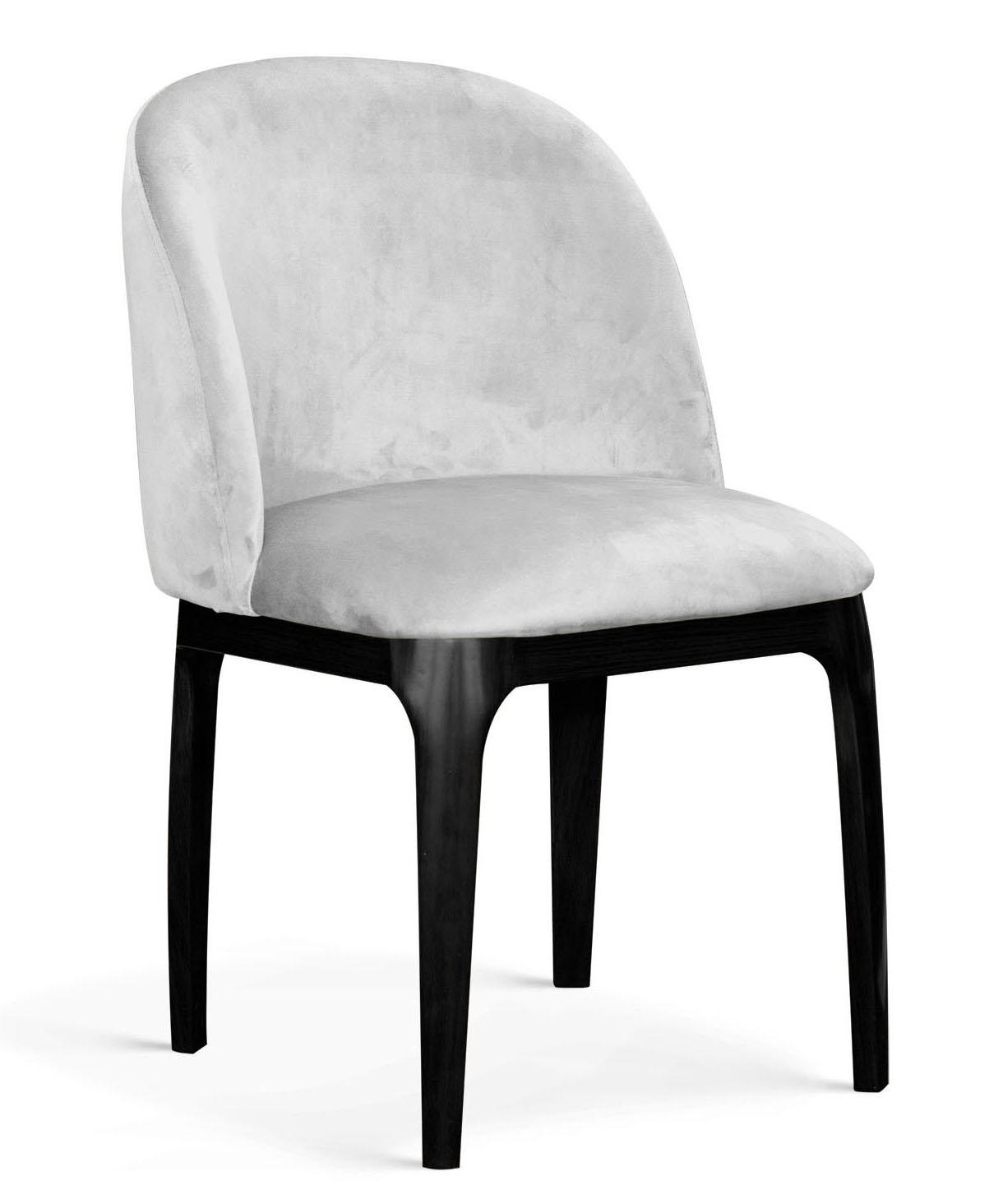 Scaun tapitat cu stofa, cu picioare metalice Grace Argintiu / Negru, l53xA56xH83 cm