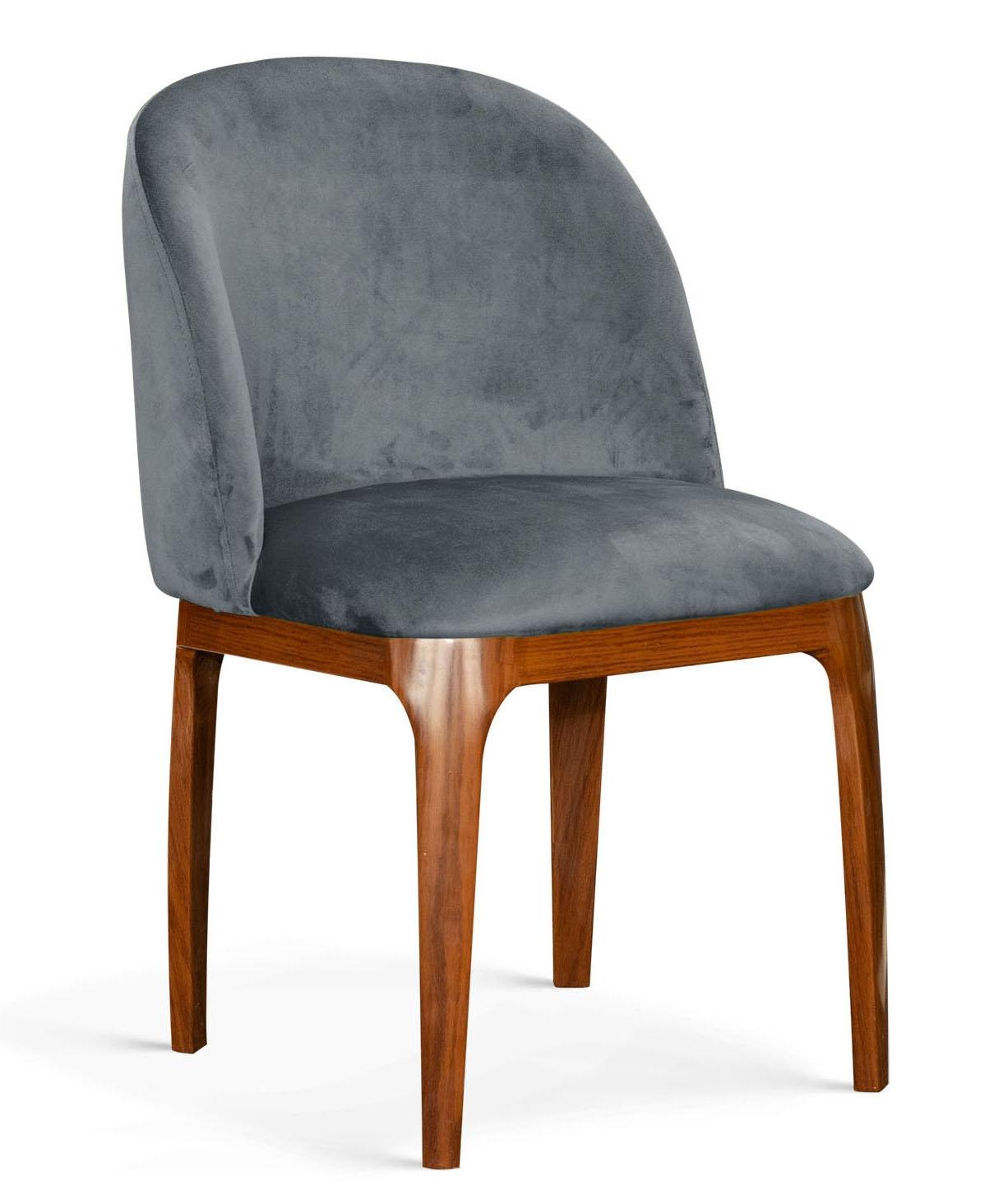 Scaun tapitat cu stofa, cu picioare metalice Grace Gri / Nuc, l53xA56xH83 cm