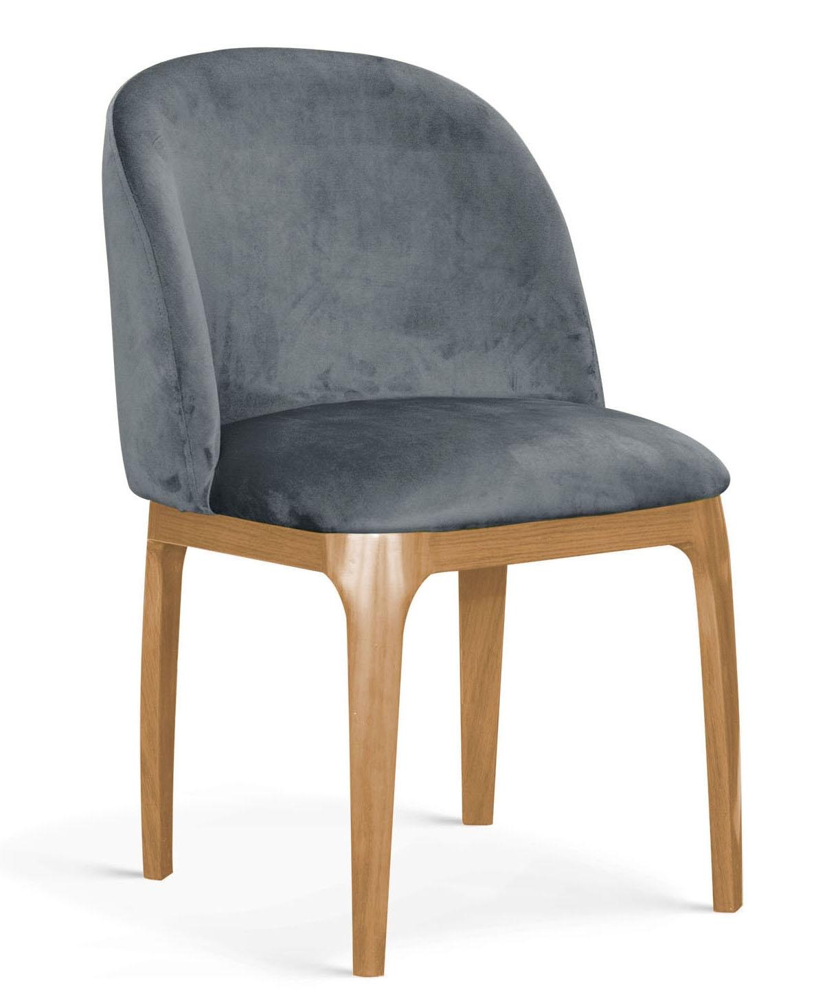 Scaun tapitat cu stofa, cu picioare metalice Grace Gri / Stejar, l53xA56xH83 cm