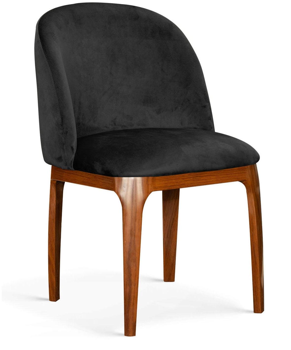 Scaun tapitat cu stofa, cu picioare metalice Grace Negru / Nuc, l53xA56xH83 cm